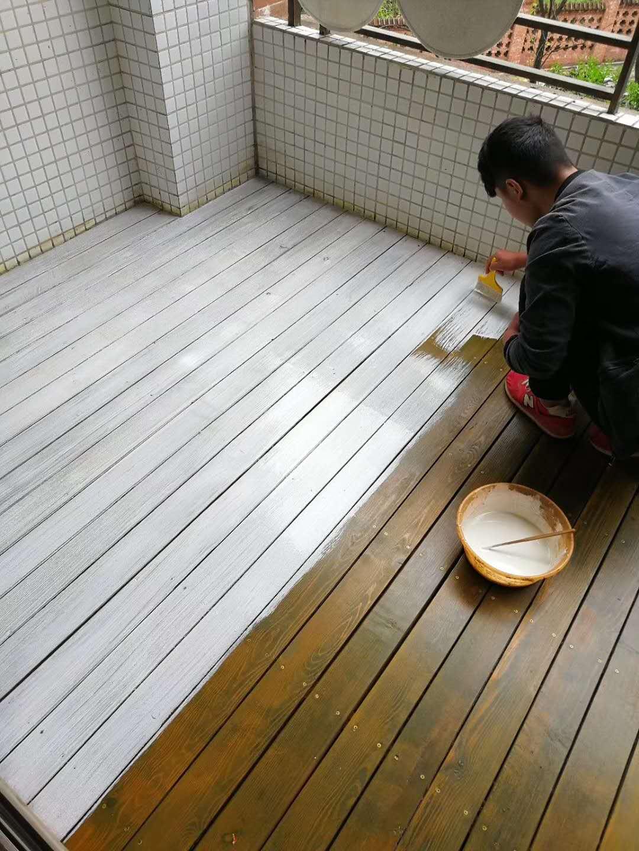 阳台防腐木调色换色